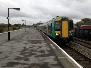 London Midland train arrives at Bordesley