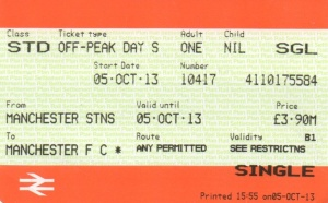 "Ticket from Manchester Stations to ""Manchester FC"""