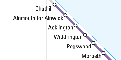 Northern Rail Map showing stations to Chathill