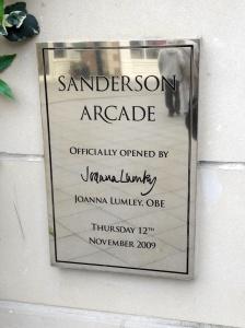 Sanderson Arcade plaque