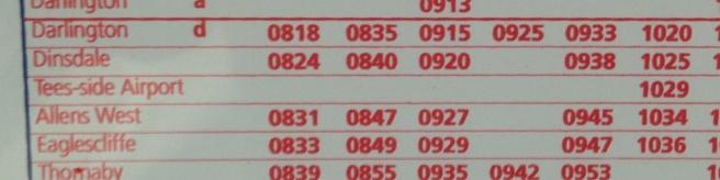 Teesside Timetable
