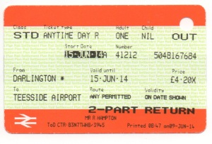 Darlington to Teesside Airport ticket