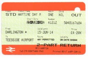 Darlington to Teesside Airport ticket