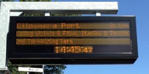 Helsby Customer Information System showing Ellesmere Port train