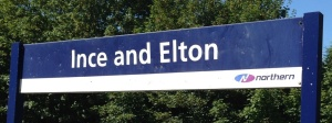 Ince & Elton station nameboard