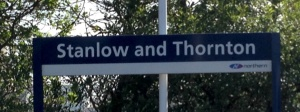 Stanlow & Thornton station nameboard