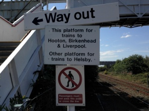 This platform for trains to Hooton, Birkenhead & Liverpool
